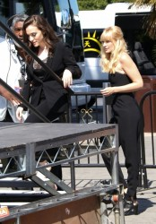 Kat Dennings & Beth Behrs - On the set of 'Extra' in LA 4/14/14