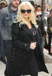 Christina Aguilera - Checking out of her hotel in NYC 4/18/14