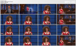 """MICHELLE WOLF as grown-up Annie - cleavage, legs - """"late night with seth meyers""""  4.24.14"""