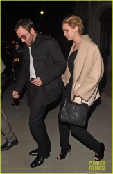 Jennifer Lawrence - Out for dinner in London 4/24/14