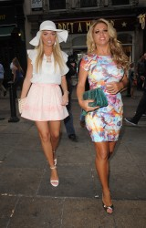 Aisleyne Horgan-Wallace and Bianca Gascoigne lesbian kiss - WAG! The Musical - VIP night at the Charing Cross Theatre 8/7/13