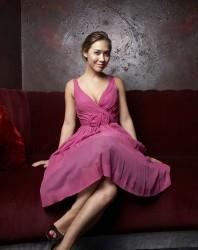 Myleene Klass in purple dress � Tom Campbell Photoshoot 2008