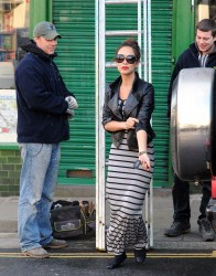 Myleene Klass nice *** shot in striped maxi dress -- out and about in London 2/8/13