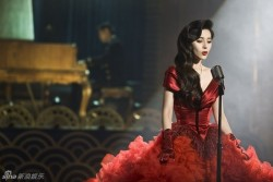 Fan Bingbing massive red dress in film East Wind, Rain