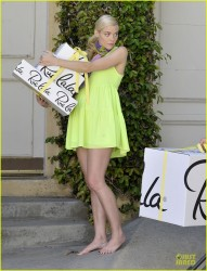 Jaime King in short neon dress receiving gifts 8/14/13