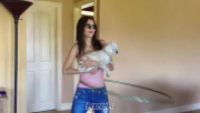 Victoria Justice - Hula Hooping with her dog 6/17/14