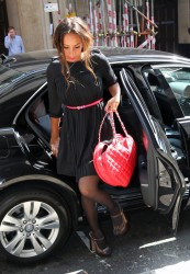 Leona Lewis in nice dress and pantyhose arriving at London office 8/3/11