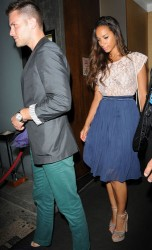 Leona Lewis almost upskirt leaving the Nobu restaurant 8/1/11