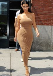 Kim Kardashian Wearing a Tight Dress in New York on June 27, 2014