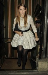Princess Beatrice and Princess Eugenie leggy in pantyhose leaving the Lanesborough Hotel 11/16/09