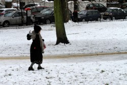 Helena Bonham Carter upskirt playing in the snow at Primrose Hill Park 2/5/12