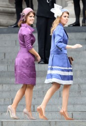 Princess Beatrice and Princess Eugenie looking elegant at the Queen's Diamond Jubilee thanksgiving service at St. Paul's Cathedral  6/5/12