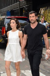 Meryl Davis in short white dress looking cute performing on ABC's 'Good Morning America' for DWTS afterparty at Times Square (with videos) 5/20/14