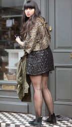 Jameela Jamil accidentally flashes the control tops on her seamed pantyhose as her dress rides up as she heads home 5/7/13