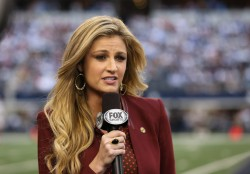 Erin Andrews reporting during the Thanksgiving Day game at Cowboys Stadium 11/22/12