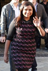 Mindy Kaling nice legs in pantyhose makes an appearance on 'Extra' at the Grove in Los Angeles 2/11/13