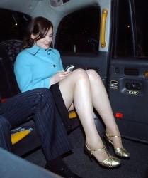 Sophie Ellis Bextor very leggy in a car leaving the Caron Keating Memorial Dinner at the Savoy Hotel in London 10/4/04