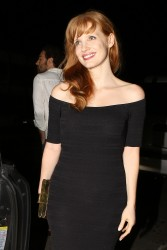 Jessica Chastain Booty in a black dress, at a restaurant in Santa Monica 08-13-2014
