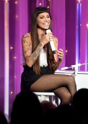 Christina Perri leggy in pantyhose performing on the Honda Stage at the iHeartRadio Theater in Los Angeles 8/7/14