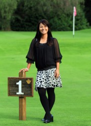 Ai Miyazato leggy in pantyhose during a photocall at the Gala Dinner after the third round of the 2010 Evian Masters 7/23/10