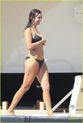 Nina Dobrev wearing a Bikini on a yacht in Ibiza 8/22/14