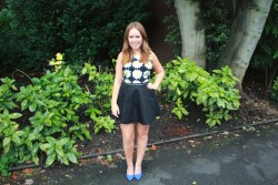 Tanya Burr very leggy in a short skirt at the Topshop Unique SS14 Show 9/15/13