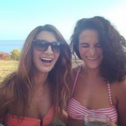 Nasim Pedrad and Jenny Slate in bikini tops