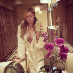Paris Hilton - Cleavy in Bath Robe