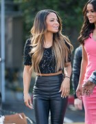 Christina Milian - Black Leather Pants On The 'Extra' Set in Universal City (1/12/15)