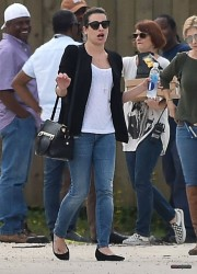 Lea Michele - On Scream Queens Set - 03/14/2015